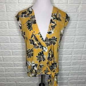 Mystree NWT Mustard Yellow Floral Print Tie Top